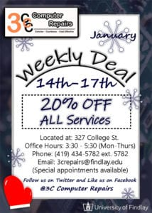3C Computer Repairs is having 20% off ALL Services this week! @ 3C Computer Repairs