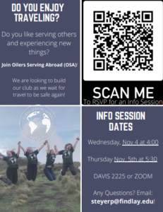 Oilers Serving Abroad Info. Session @ Davi 2225 or Zoom