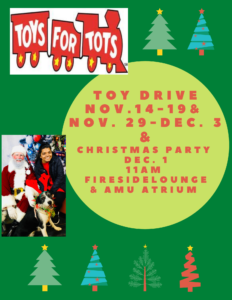 Toys for Tots Christmas Party @ Alumni Memorial Union (AMU) Fireside Lounge and Atrium |  |  |